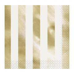 Gold Foil Striped Small Napkins (Pack of 16)