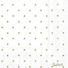 White and Gold Foil Dot Small Napkins / Serviettes (Pack of 20)