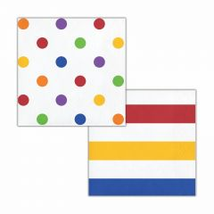 Rainbow and White Polka Dot and Striped Small Napkins / Serviettes (Pack of 16)