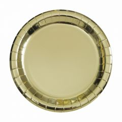Gold Foil Small Round Paper Plates (Pack of 8)