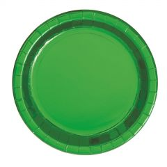 Green Foil Small Round Paper Plates (Pack of 8)
