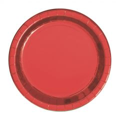 Red Foil Small Round Paper Plates (Pack of 8)