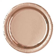 Rose Gold Foil Small Round Paper Plates (Pack of 8)