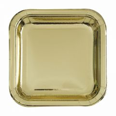 Gold Foil Small Square Paper Plates (Pack of 8)