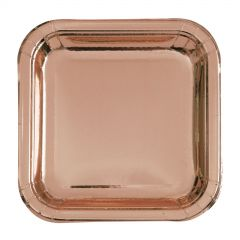 Rose Gold Foil Small Square Paper Plates (Pack of 10)