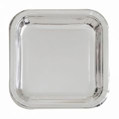 Silver Foil Small Square Paper Plates (Pack of 8)