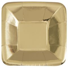 Gold Foil Square Appetizer Plates (Pack of 8)