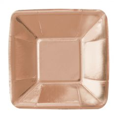 Rose Gold Foil Small Square Paper Appetizer Plates (Pack of 8)