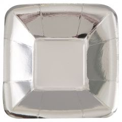 Silver Foil Square Appetizer Plates (Pack of 8)