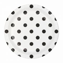 Black and White Polka Dot Small Paper Plates (Pack of 8)