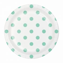 Mint Green and White Polka Dot Small Paper Plates (Pack of 8)