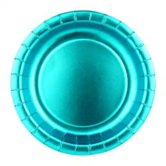 Blue Foil Round Small Paper Plates (Pack of 12)
