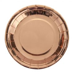 Rose Gold Foil Small Round Paper Plates (Pack of 25)
