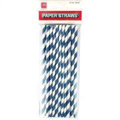 Blue and White Striped Paper Straws (Pack of 20)