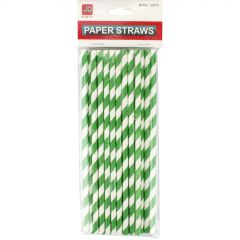 Green Plastic Drinking Straws (Pack of 50)