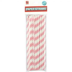 Light Pink Striped Paper Straws (Pack of 25)