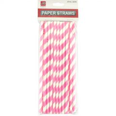 Hot Pink and White Striped Paper Straws (Pack of 20)