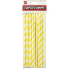Yellow and White Striped Paper Straws (Pack of 20)
