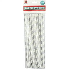 Silver Foil Paper Straws (Pack of 10)