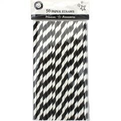 Black and White Striped Paper Straws (Pack of 50)