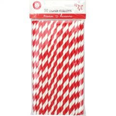 Red and White Striped Paper Straws (Pack of 50)
