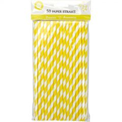 Yellow and White Striped Paper Straws (Pack of 50)