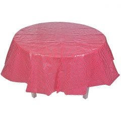 Red Round Gingham Plastic Tablecloth