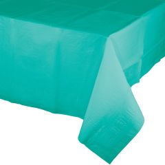 Teal Rectangular Plastic Lined Tissue Tablecloth