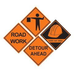 Construction Sign Decorations (Pack of 4)