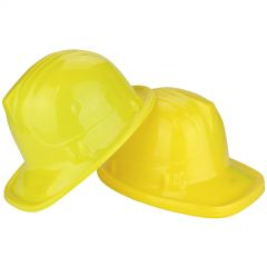 Construction Yellow Large Child Plastic Hats 56cm (Pack of 12)
