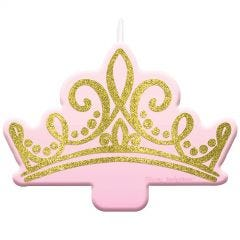 Disney Princess Once Upon A Time Gold Glitter Tiara Birthday Candle