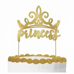 Disney Princess Once Upon A Time Gold Glitter Cake Topper