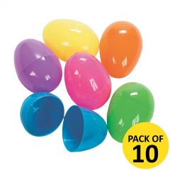 Bright Fillable Plastic Easter Eggs (Pack of 10)
