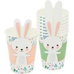 Easter Paper Cups with Pink & Green Bunny Cup Wraps (Pack of 8)