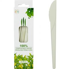 White Compostable Plastic PLA Knives (Pack of 20)