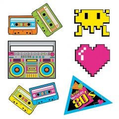 80's Party Cutout Decorations (Pack of 6)