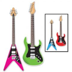 Neon 80's Guitar Cutout Decorations (Pack of 2)
