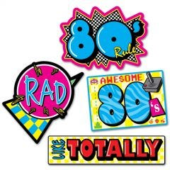 Awesome 80's Cutout Decorations (Pack of 4)