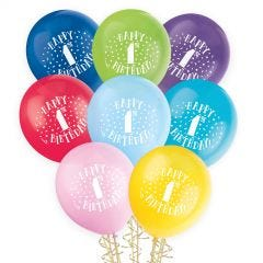 1st Birthday Coloured Balloons (Pack of 12)