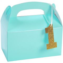 Light Blue 1st Birthday Treat Boxes With Tags (Pack of 12)