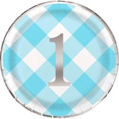 Blue Gingham 1st Birthday Boy Large Paper Plates (Pack of 8)