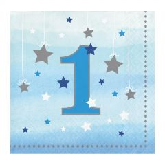 One Little Star Boy Number 1 Small Napkins / Serviettes (Pack of 16)