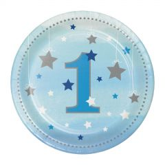 One Little Star Boy Number 1 Small Paper Plates (Pack of 8)