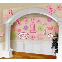 Girls 1st Birthday Cutouts Decoration (Pack of 30)