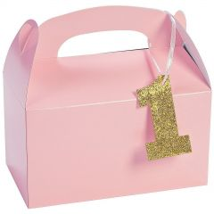 Light Pink 1st Birthday Treat Boxes With Tags (Pack of 12)