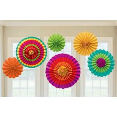 Fiesta Coloured Paper Fans (Pack of 6)