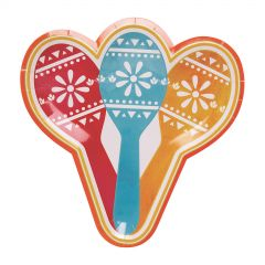 Let's Fiesta Maraca Shaped Small Paper Plates (Pack of 8)