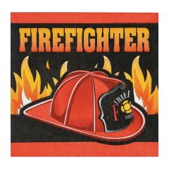 Firefighter Party Small Napkins / Serviettes (Pack of 16)
