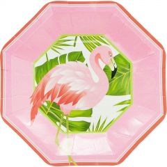 Tropical Flamingo Large Paper Plates - Pack of 8