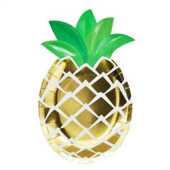 Gold Foil Pineapple Small Paper Plates (Pack of 8)